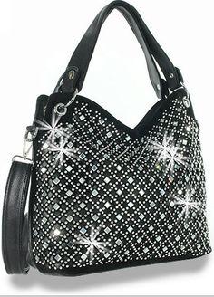 * Black Rhinestone and Mirror Accented Layered Fashion Handbag