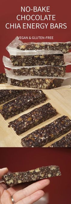 No-Bake Chocolate Chia Bars with Walnuts - Vegan and Gluten-Free