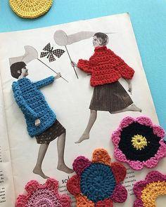 Jolly June jumpers ❄️ in Knit Art, Crochet Art, Crochet Home, Crochet Motif, Crochet Flowers, Crochet Projects, Sewing Projects, Knitting Patterns, Crochet Patterns