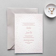 """Brides: Pink-and-White Dotted Letterpress Invite. """"Stella"""" pink-and-white letterpress wedding invitation, $420 for 100 invitations, Aerialist Press"""