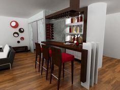 Bar a diseño, cava empotrada en la pares, copero en L desde el techo, barra en nogal, patas en poliuretano blanco.