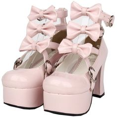 Amazon.com | Pink 75MM Heel Ankle-High Round-Toe Lolita Cosplay Shoes... ($69) ❤ liked on Polyvore featuring shoes, high heeled footwear, round cap, pink high heel shoes, ankle length shoes and round toe shoes