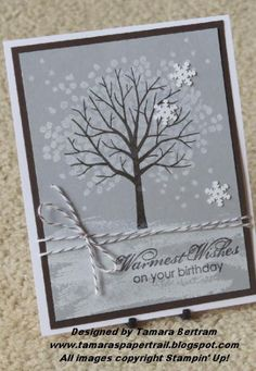 Sheltering Tree  by Tamara Bertram, White Craft ink on Smoky Slate and Early Espresso for the tree. Some Espresso Baker's Twine, sentiment from Blooming with Kindness (in espresso), a few frosted sequin snowflakes and DONE! (mounted on an espresso layer)