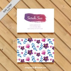 Watercolor flowers and leaves business card Free Vector Bakery Business Cards, Free Business Cards, Professional Business Cards, Business Card Design, Logo Foto, Name Card Design, Bussiness Card, Creating A Business, Name Cards