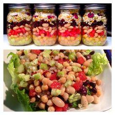 Mediterranean Bean Salad Salad In A Jar, Bean Salad, Mason Jars, Food Ideas, Good Food, Beans, Cooking Recipes, Vegetables, Salads