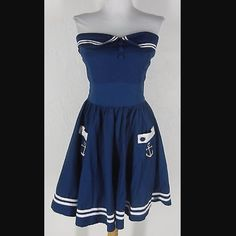 """Hell Bunny blue strapless mini dress I tried to make this mini dress work for me and it just didn't.  Being 5'10"""" the dress fit more like a top and as a result I just don't wear it. It has been worn and washed a few times. Hell Bunny Dresses Mini"""