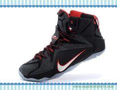 tenis barato de marca Masculino-Mulheres Preto/Branco/Vermelho 684593-468 Nike Lebron 12