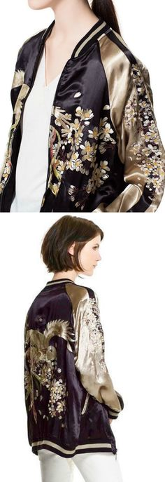 An Embroidery Bomber Jacket is now available at $75 from Pasaboho. This Fashion Jacket exhibit unique bold embroidered patterns with sakura flowers. ❤️ :: boho fashion :: gypsy style :: hippie chic :: boho chic :: outfit ideas :: boho clothing :: free spirit :: fashion trend :: embroidered :: flowers :: floral :: lace :: fabulous :: love :: street style :: fashion style :: boho style :: bohemian :: modern vintage :: ethnic tribal :: boho bags :: embroidery jacket :: cardigans :: sweater…
