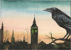 ACEO PRINT OF PAINTING CROW RAVEN RYTA BIG BEN UK LONDON GOTHIC VINTAGE STYLE