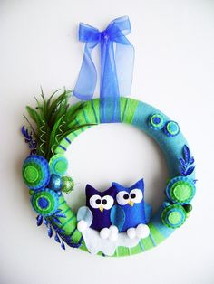 .Lovely owl wreath - to purchase on Etsy