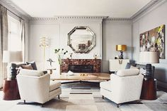 Love this room, mirror over fireplace, chairs....perfection!            {décor inspiration | interior designer : jean-louis denoit, paris} by {this is glamorous}, via Flickr