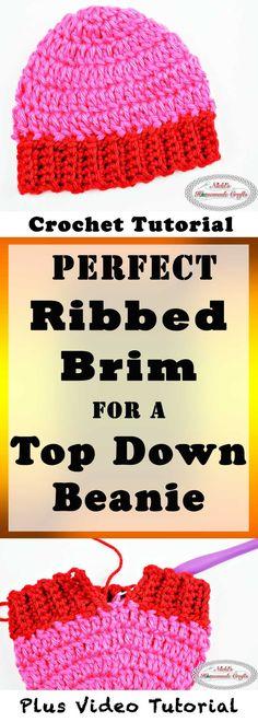 0da0110a4a7 Perfect Ribbed Brim for a Top Down Beanie Crochet Tutorial by Nicki s  Homemade Crafts  crochet