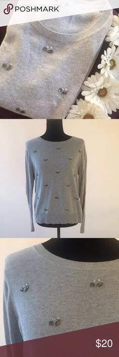 Bejeweled Sweater Gray sweater with jewel details. All stones are intact. MAKE ME AN OFFER! Merona Sweaters Crew & Scoop Necks