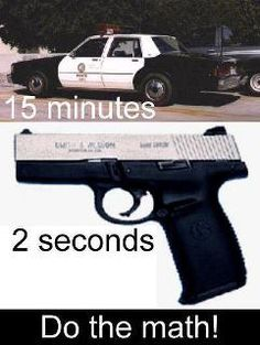 NO COMMON CORE IS REQUIRED!!!! .....It's a LEGAL right to protect yourself! And I must say... that is a seriously old police car so it might take them more than 15 minutes!