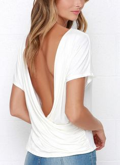 Deep V Neck Open Back T-shirt -SheIn(abaday)