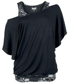 - camiseta murciélago  - look doble capa  - ancho cuello  Increíble camiseta negra y gris Top Murciélago 2 Capas exclusiva de EMP. De ancho cuello y disponible hasta la talla XL. Dos partes que se pueden llevar por separado!