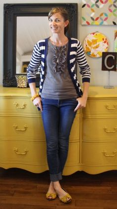 I like the ruffled tee, the striped cardi and the splashes of yellow