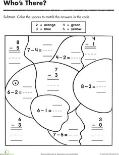Worksheets: Subtraction Color By Number: Color the Fish!   done 10/12