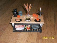 miniature dollhouse halloween table