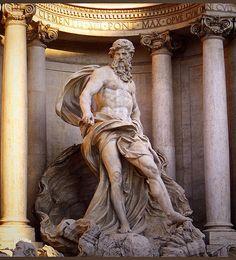 Fontana di Trevi's Neptune (Poseidon) , Rome. - Greek Mythology