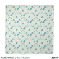 Blue Floral Trellis Duvet Cover