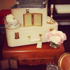 VE Rentals: Vintage luggage, candle holders, tea sets, frames and more... Contact us today to rent one of our beautiful items for your special occasion.