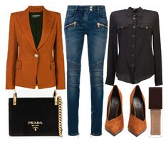 """""""street style"""" by sisaez ❤ liked on Polyvore featuring Prada and Balmain"""