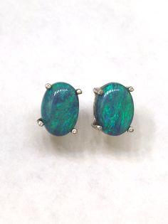 14k Australian Solid Black Opal Earrings Stud Blue Green Earring Posts
