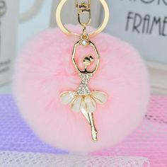 Women Rabbit Hair Rhinestone Ball Pom Pom Charm Keychain Handbag Key Ring Pendant