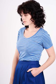 Blue Organic Striped T, Bibico by Snow
