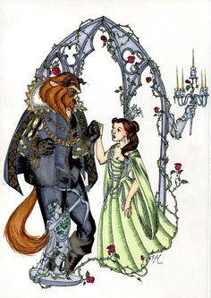 La Belle et la Bete by Kitty-Grimm on DeviantArt Beauty And The Beast Art, Beauty And The Best, Disney Films, Disney And Dreamworks, Walt Disney, Princess Movies, Princess Art, Disney Princess, Disney Names