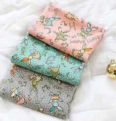 Cute Rabbit Pattern Cotton Fabric 3 Colors by luckyshop0228