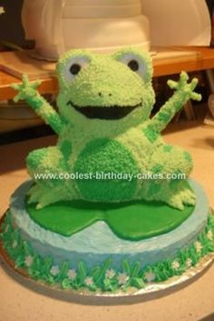 Homemade Frog Birthday Cake: This Homemade Frog Birthday Cake was made using the Wilton 3D bear pan.  I trimmed off the arms and tail and used the ears for eyes.  The arms are made