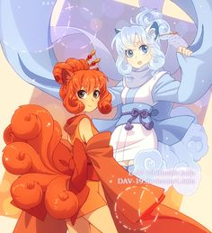 alolan form alolan vulpix animal ears brown eyes detached sleeves fox ears fox tail gen 1 pokemon humanization japanese clothes kimono kitsune looking at viewer multiple girls multiple tails open mouth personification pokemon red hair scarf s Pokemon Fan Art, Cute Pokemon, Pokemon Red, Nine Tails Pokemon, Pikachu Ears, Alolan Vulpix, Gijinka Pokemon, Pokemon Couples, Anime Child