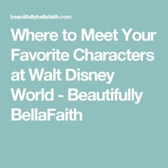 Where to Meet Your Favorite Characters at Walt Disney World - Beautifully BellaFaith