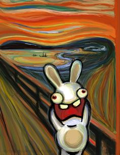 If you like this, check out the updated version: Bunnies Scream Again This is my homage to my fellow Norwegian Edvard Munch (his Scream of course) . Bunnies Do Scream Edvard Munch, Le Cri Munch, Scream Parody, Japon Illustration, Rabbit Art, Famous Art, Angst, Illustrations, Art Plastique