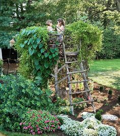 Nest for kids -- what a great reading spot! Grape Vines could be interwoven into the nest.
