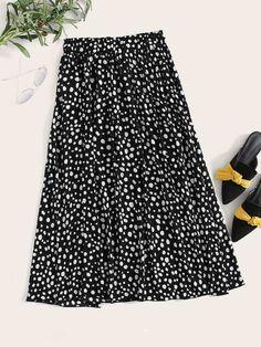 Dalmatian Print Elastic Waist Skirt | SHEIN UK Chiffon Skirt, Sequin Skirt, Midi Flare Skirt, Elastic Waist Skirt, Dalmatian, No Frills, Skirts, Shopping, Clothes