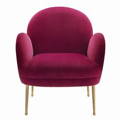 Add a burst of colour and personality to your space with the playful Gwen chair. With its fun silhouette, soft velvet upholstery and brushed gold legs, it'll enhance any decor. Available in several exciting colour options. Luxury Chairs, Luxury Sofa, Living Room Furniture, Modern Furniture, Furniture Design, Porch Furniture, Repurposed Furniture, Pallet Furniture, Furniture Ideas