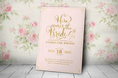 Bridal Shower Invitation - Printable Bridal Shower Invitation - Here Comes the Bride Invitation - Pink and Gold Invitation (double sided)