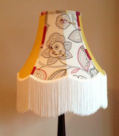 STANDARD LAMPSHADE WITH LONG FRINGE,JOHN LEWIS FABRIC AND BEADED DECORATION