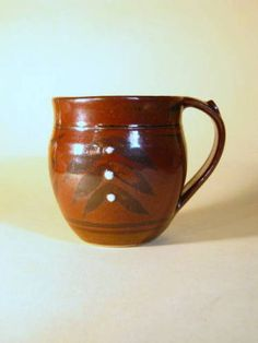 DEREK EMMS TENMOKU GLAZED MUG WITH SLIP DECORATION | eBay