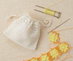 ヘアピンレース「ミニ」で編む 花モチーフレースの巾着 | 手づくりレシピ | クロバー株式会社