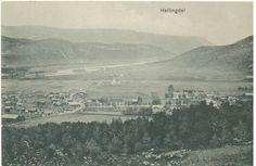Nesbyen1912  Bildet er tatt fra husmannsplassen Brekkebråten, gammelt navn Laabråten. Dette var en plass under gården nedre Høva. Bildet må være tatt på 1890-tallet. Broen på bildet er den gamle trebroen med brokar midt i elveløpet (Næselven, Tverraane eller i dag Rukkedøla) som ble erstattet med en jernverksbro i år 1900. Kirken ble bygget i 1862 og er den største i dalen, (Hallingdomen).