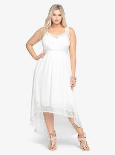 at Torrid Lace Inset Hi-Lo Maxi Dress
