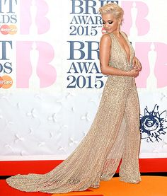 Rita Ora sizzled in a gold outfit at the BRIT Awards 2015 at The O2 Arena on February 25, 2015 in London, England.