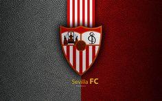 Download wallpapers Sevilla FC, 4K, Spanish football club, La Liga, logo, emblem, leather texture, Sevilla, Spain, football