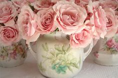 Vintage sugar dish as floral container, love it.