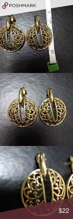 Trifari gold tone fashion clip earrings These gorgeous clip ons are modern Trifari fashion earrings. Trifari Jewelry Earrings