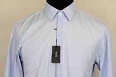 Hugo Boss Mens Long Sleeve Regular Fit Dress Shirt Sz 16 Blue #HugoBoss